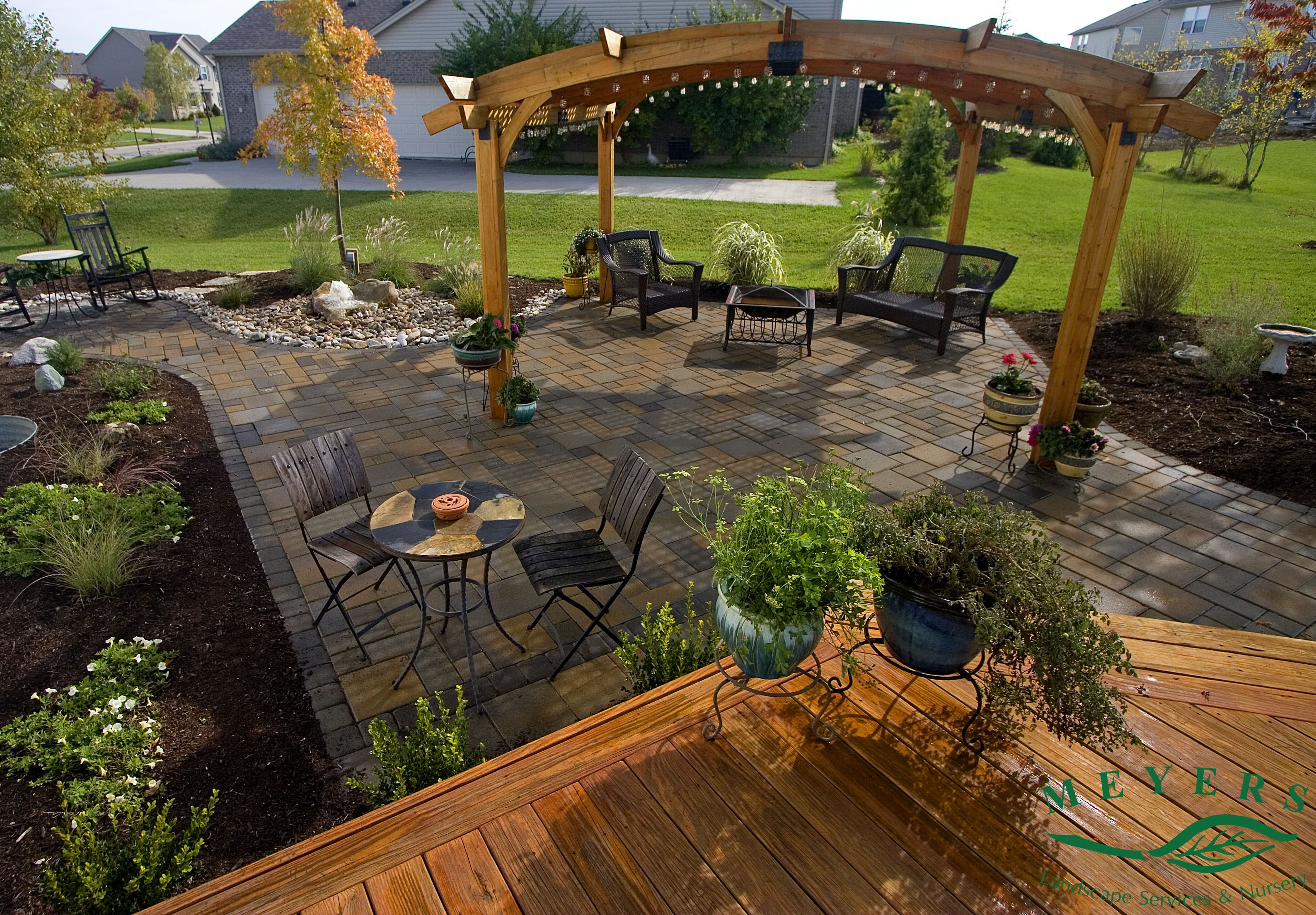 Meyers Landscape Custom paver patio with deck and lighted ... on Red Paver Patio Ideas id=46978