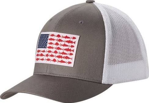 Columbia Sports Hat With American Flag Made Out Of Fish Ball Cap Hunting Clothes Mens Caps