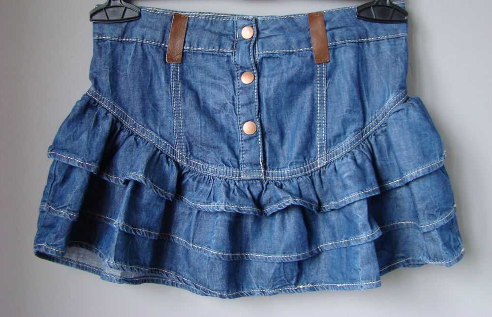 big sale 3961b 6ae59 MINIGONNA in jeans DENIM blu con BALZE VOLANT