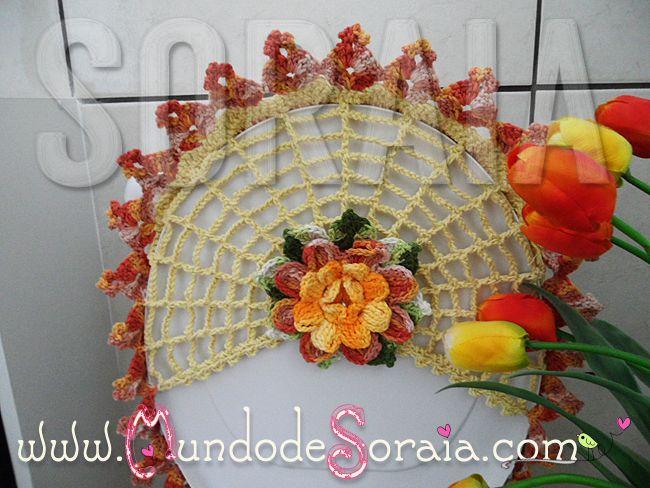 Jogo de Banheiro Oval Flor da Paixão  JOGOS DE BANHEIRO  Pinterest  Croche -> Cuba Banheiro Oval