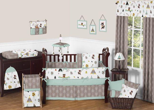 Sweet Jojo Designs Modern Blue Fox Bear Baby Boys Girls Nursery Crib Bedding Set CribNursery DecorNursery