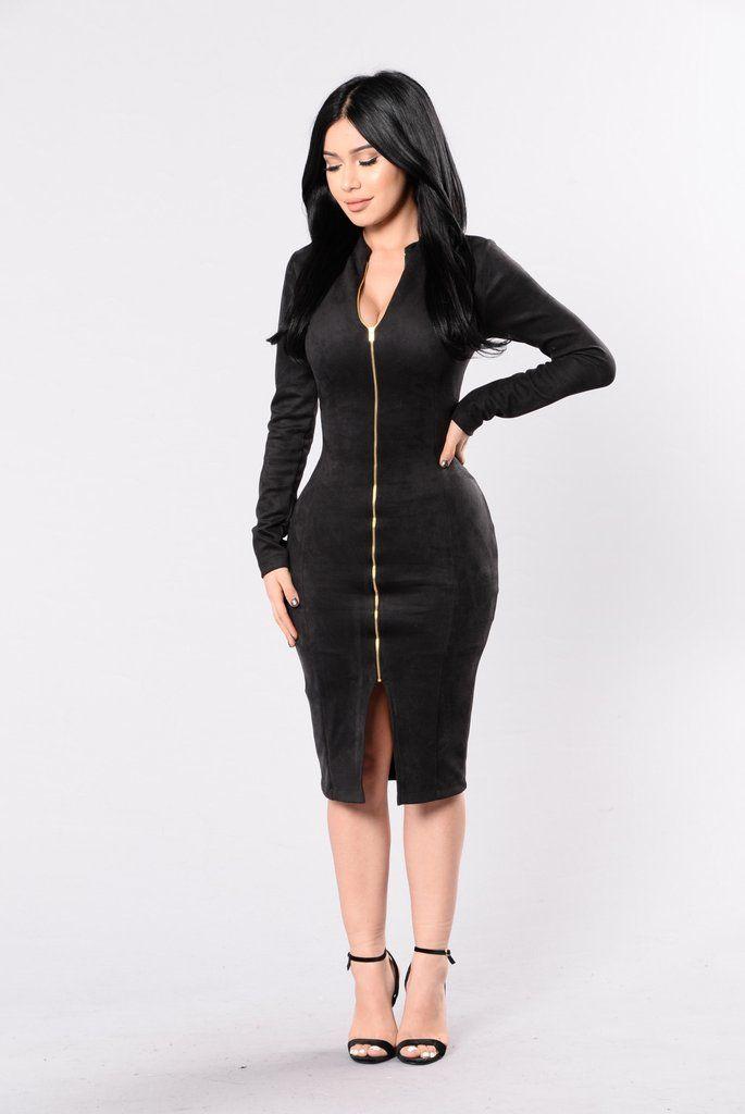 Zip Up Collar Dress Fashion Nova