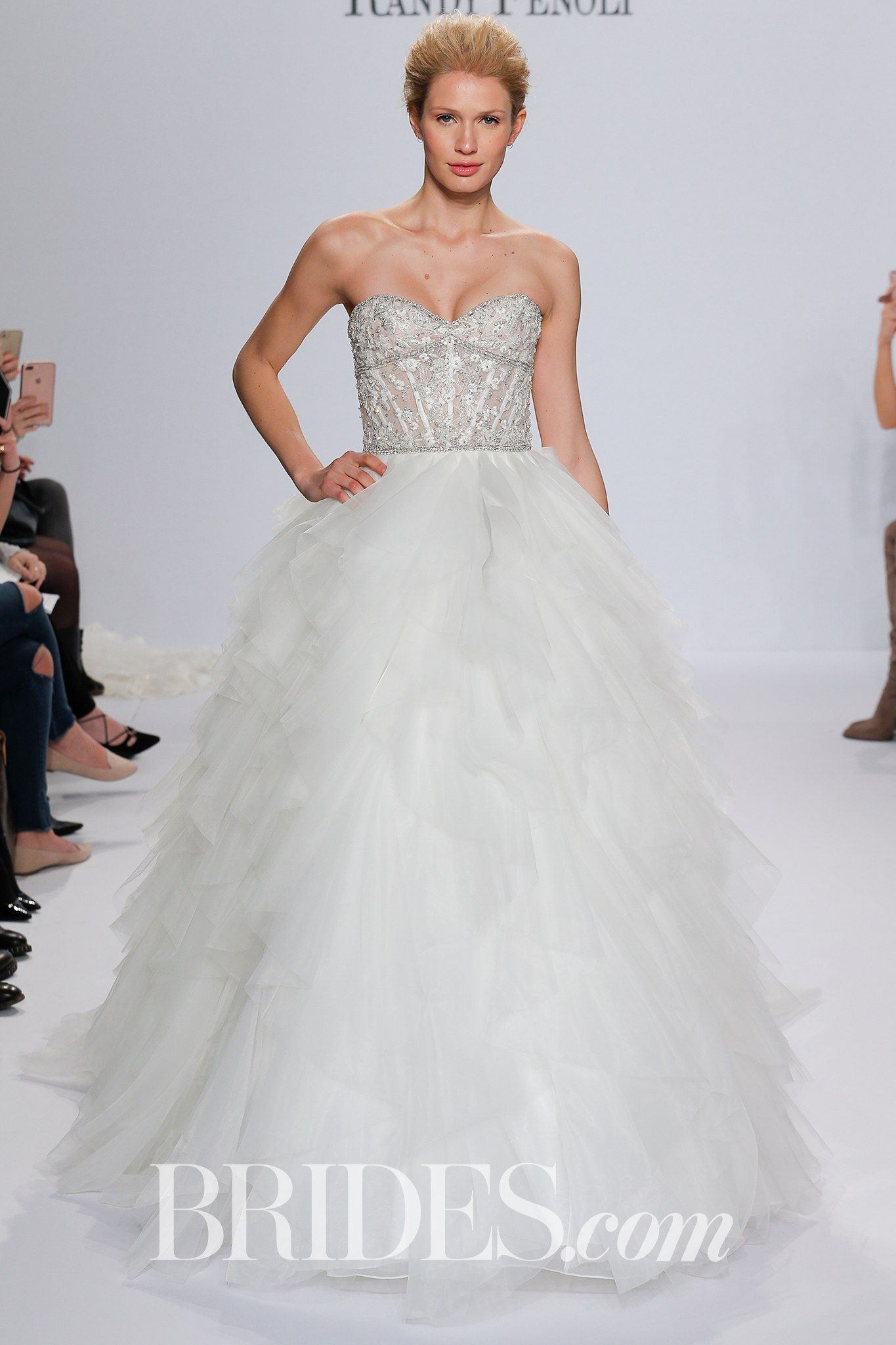 Randy fenoli for kleinfeld bridal  wedding dress collection spring brides angelina strapless ball gown with  natural waist sheer bonded bodice also rh pinterest
