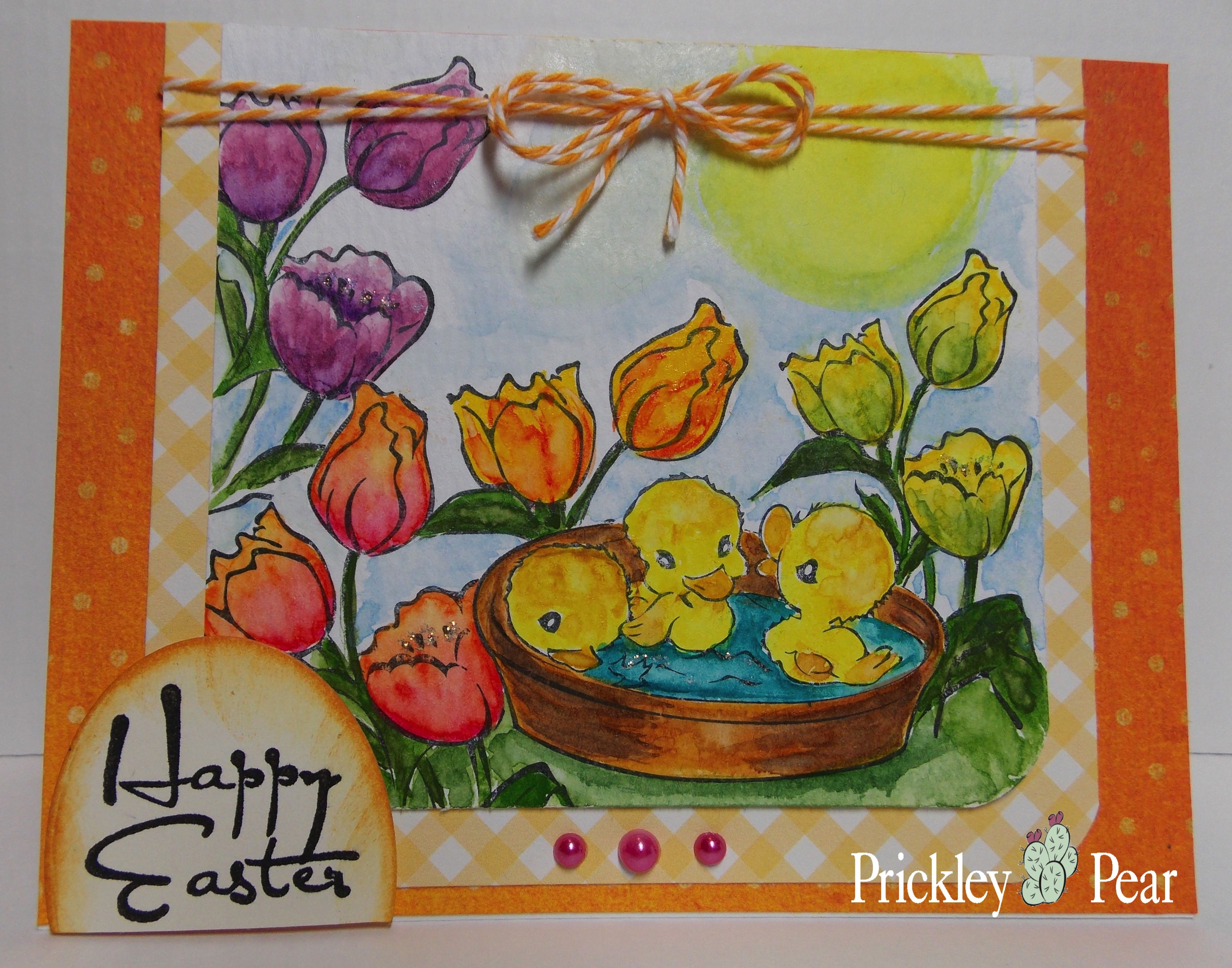 Last DT card for Prickley Pear stamps.  Featuring Pond of Ducklings and Easter Flowers. My blog: http://cardsandpaperfun.blogspot.com/2015/03/pond-of-ducklings.html