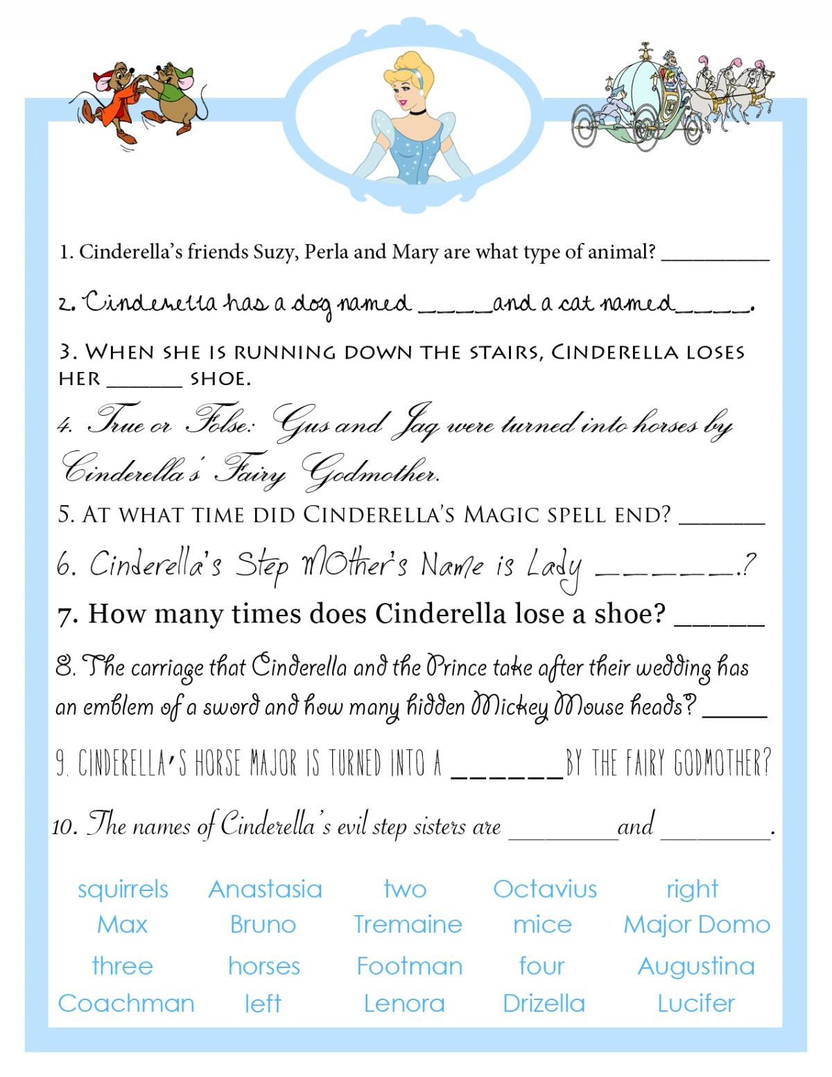 cinderella bridal shower trivia game from bibbidi bobbidi bride httpwww