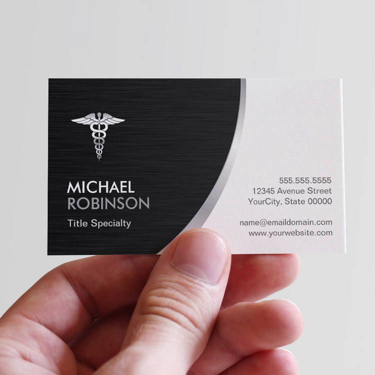 Professional Medical Caduceus Logo Modern Stylish Business Cards