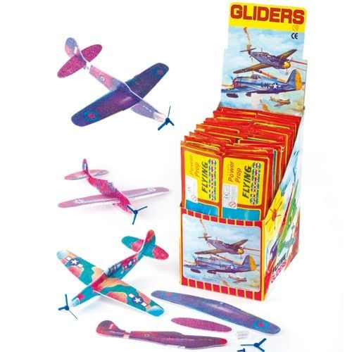 One of our best sellers!#Each glider comes with nose piece and propeller#Assorted designs#Glider size approx. 20cm#Age 3+#Great for fundraising events#Suggested selling price 40p each