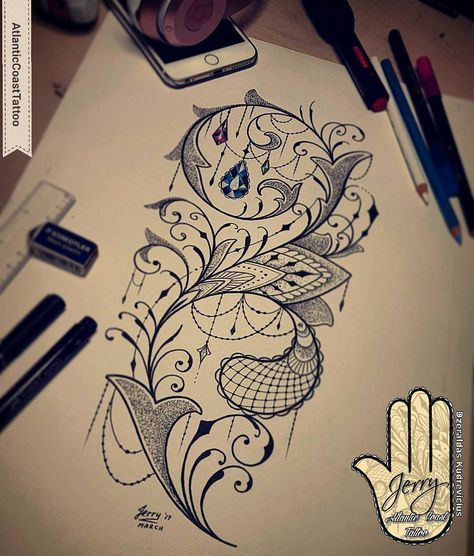 "Photo of Dzeraldas Jerry Kudrevicius on Instagram: ""Todays effort 👌 #tattoodesigns #tattooidea #tattooflash #tattooedgirls #inksparation #ink #drawing #design #lacetattoodesign #lacetattoo…"""