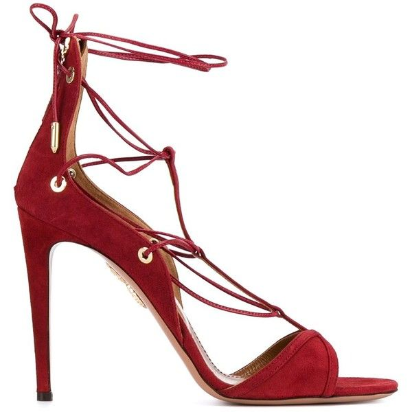 Aquazzura 'Cayenne' sandals (3.655 RON) ❤ liked on Polyvore featuring shoes, sandals, red, red strappy sandals, leather shoes, stiletto sandals, red sandals and stiletto shoes