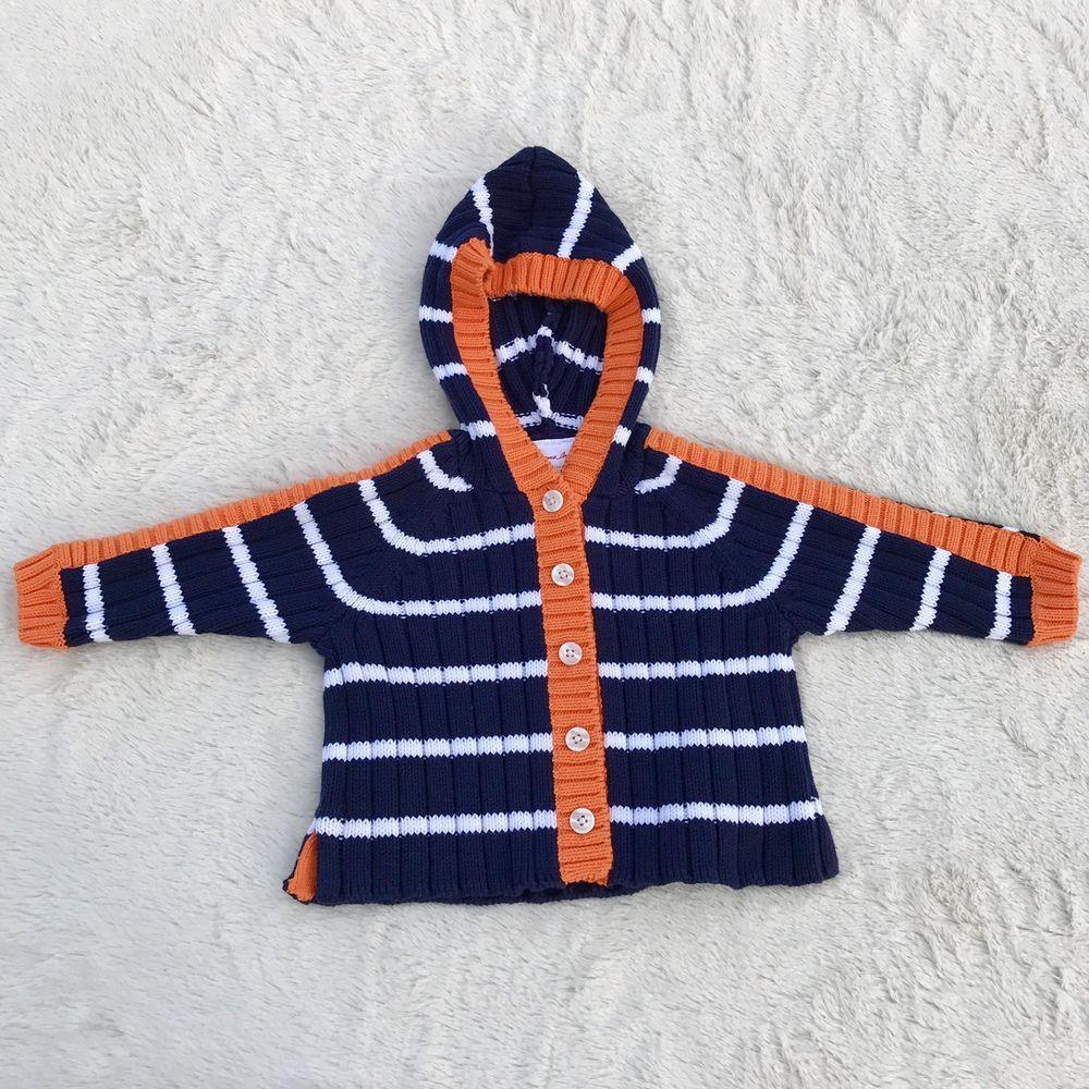 Hanna Anderson Baby NEW Blue White Orange Striped Cardigan Sweater ...