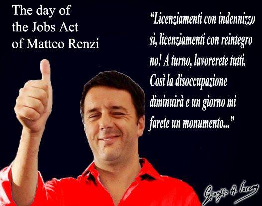 Jobs Act, il giorno del trionfo di Renzi