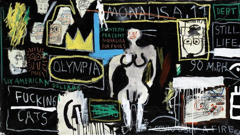 Jean-Michel Basquiat Crown hotel (mona lisa black background)