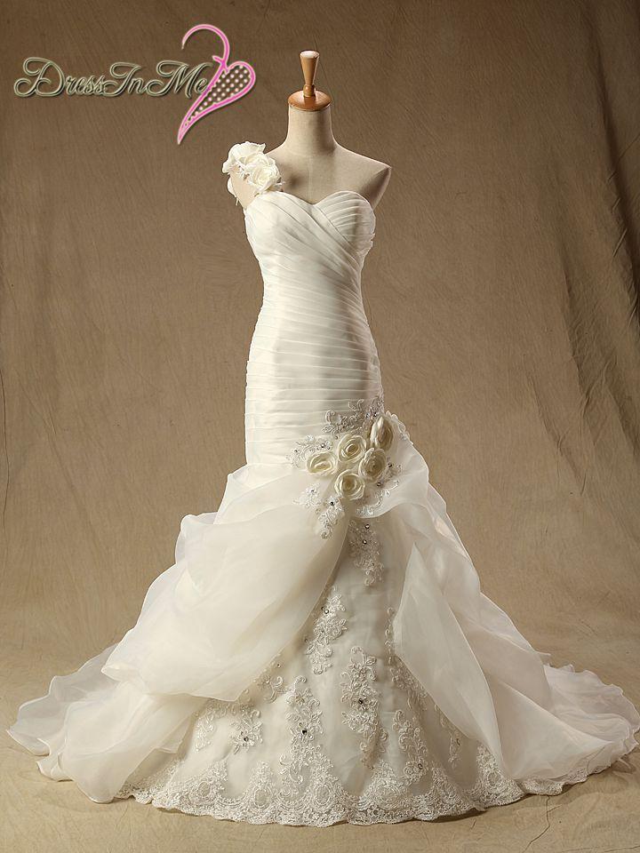 One Shoulder Mermaid Wedding Dress Pyper Roses Bustled Skirt Dresses Lace Up Back Vestidos De Noiva Real PhotoChina Mainland