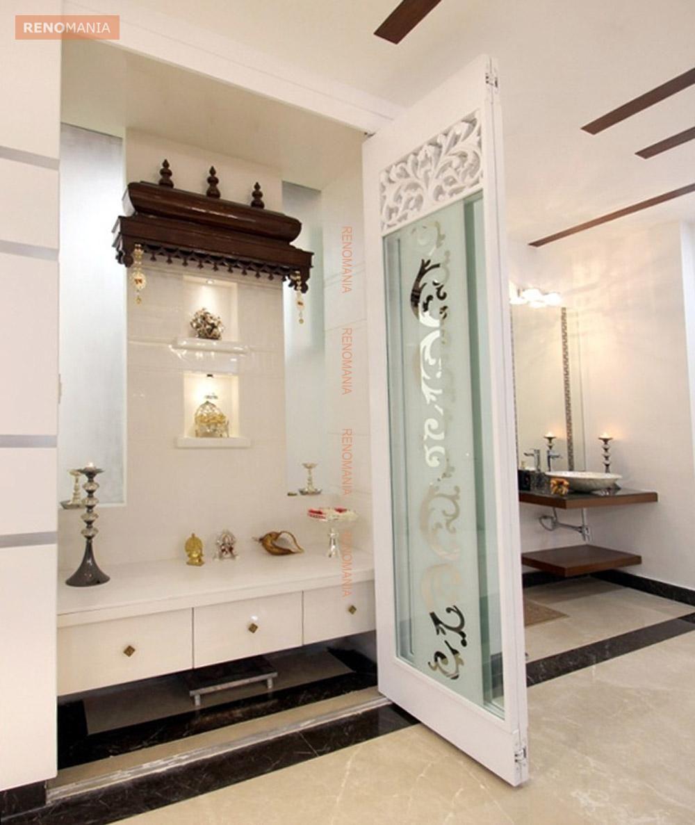 Marble Flooring In Pujaroom Pooja Room Door Design Room Door