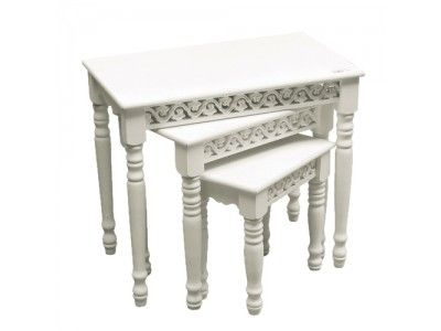 Coach House Belgravia Nest of 3 Coffee Tables - White  £104.13