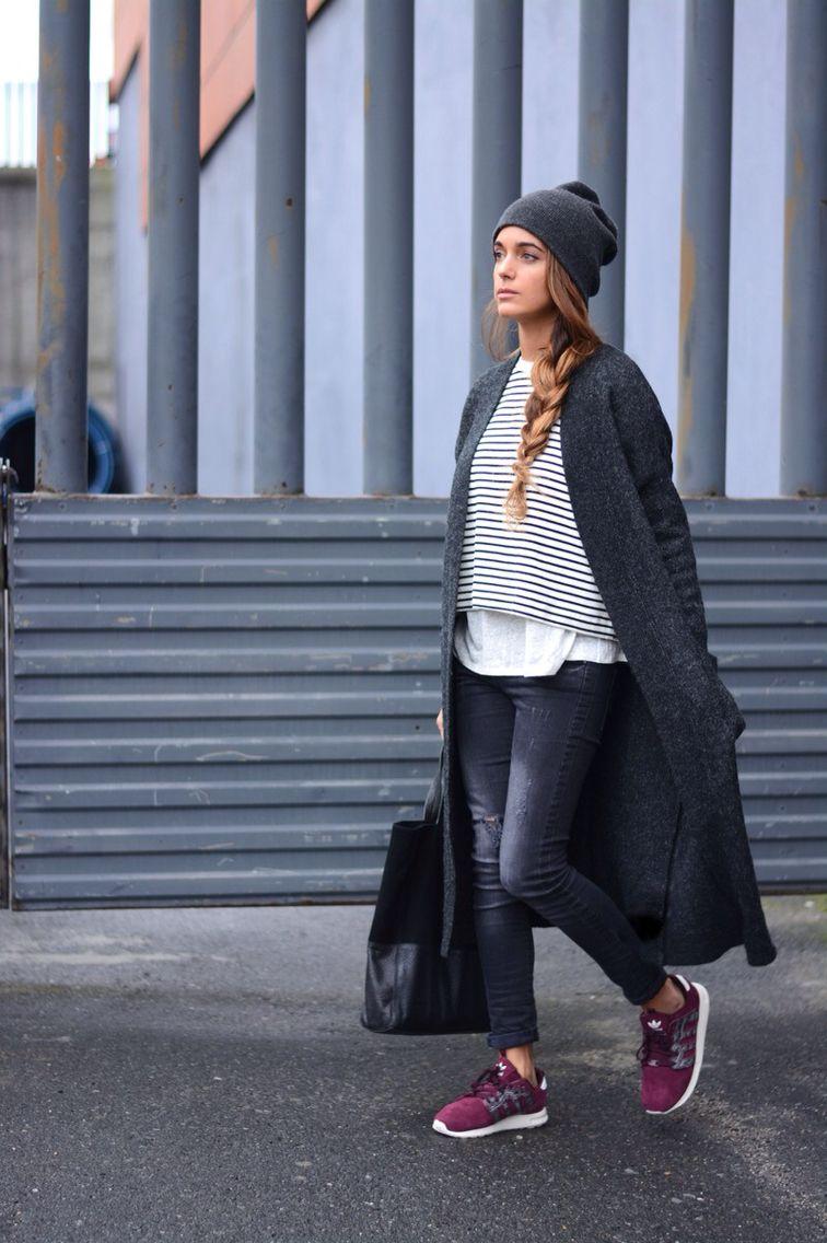 Dark grey coat#stripes shirt#burgundy sneakers form adidas#