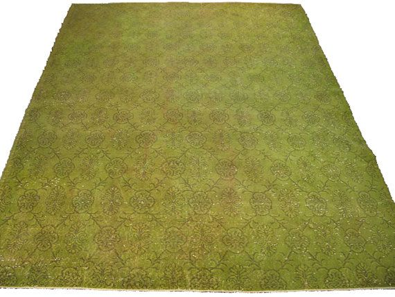 Chartreuse Fl Vintage Overdyed Turkish Rug By Bazaarbayar On Etsy 6 X