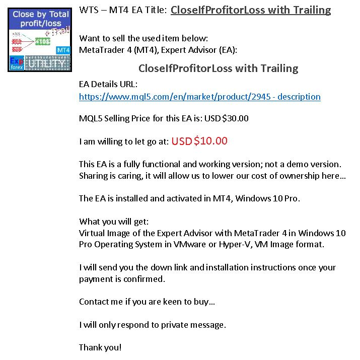 Closeifprofitorloss With Trailing Ea Expert Advisors Mt4 Sell