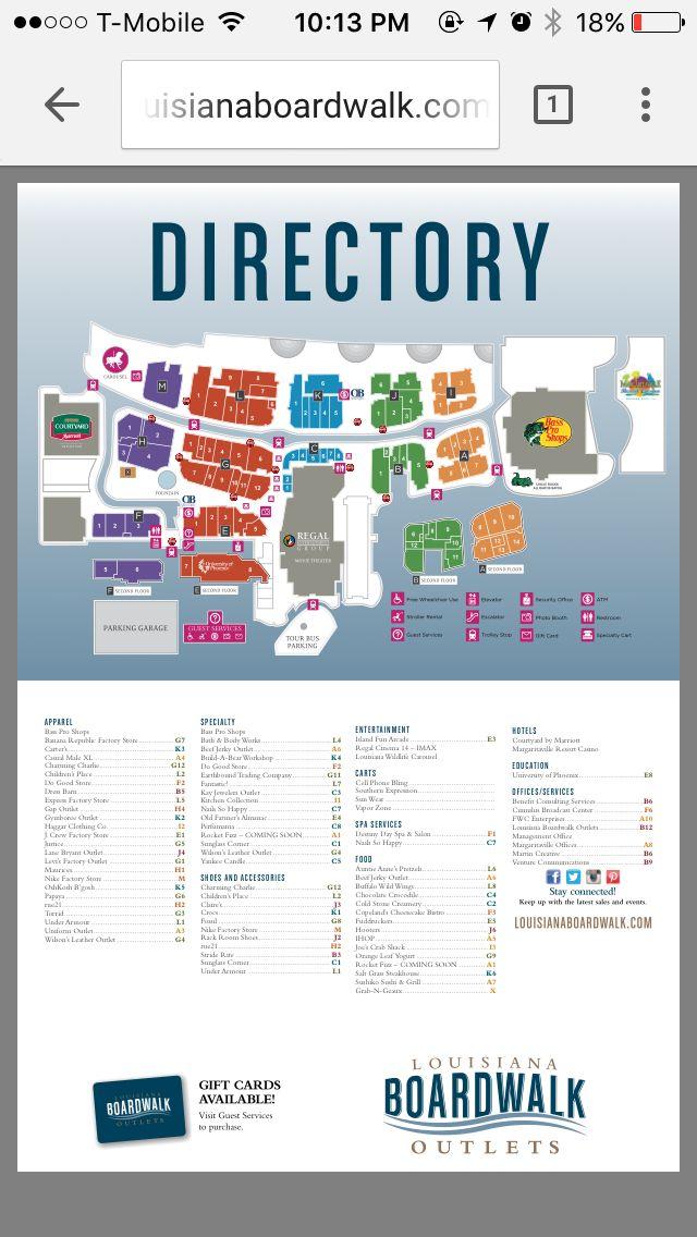 Mall Of Louisiana Directory : louisiana, directory, Directory, Louisiana, Boardwalk, Outlets, #Shreveport, #Louisiana, Shreveport, Boardwalk,, Bossier, Louisiana,