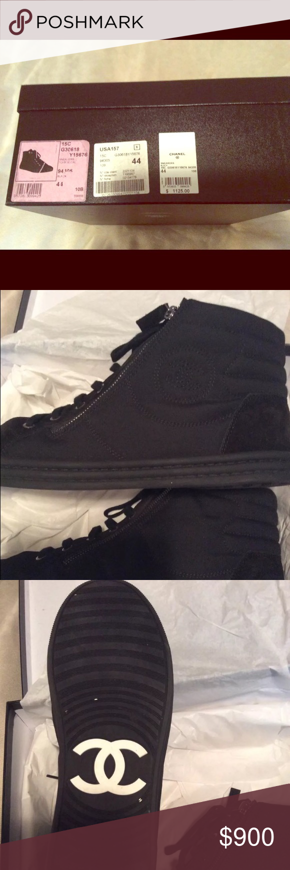 Chanel Men's Hightop Sneakers Chanel Sneakers Men's Size 44 like new condition. Worn for one occasion and have been stored in box since then. Comes with original box, dust covers. Purchased new at Las Vegas Chanel boutique. CHANEL Shoes Sneakers