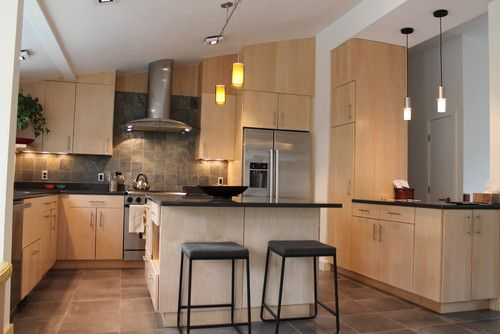 Maple Slate Kitchen Design - Slab front natural maple with ... on Modern Kitchen Backsplash With Maple Cabinets  id=51952
