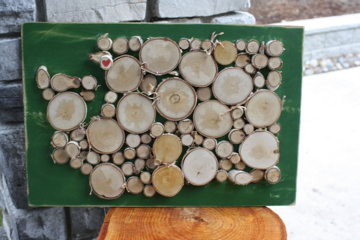 Large Washington State Outline Made of Wood Slices with Heart Log Slice by logslicesbymargie on Etsy