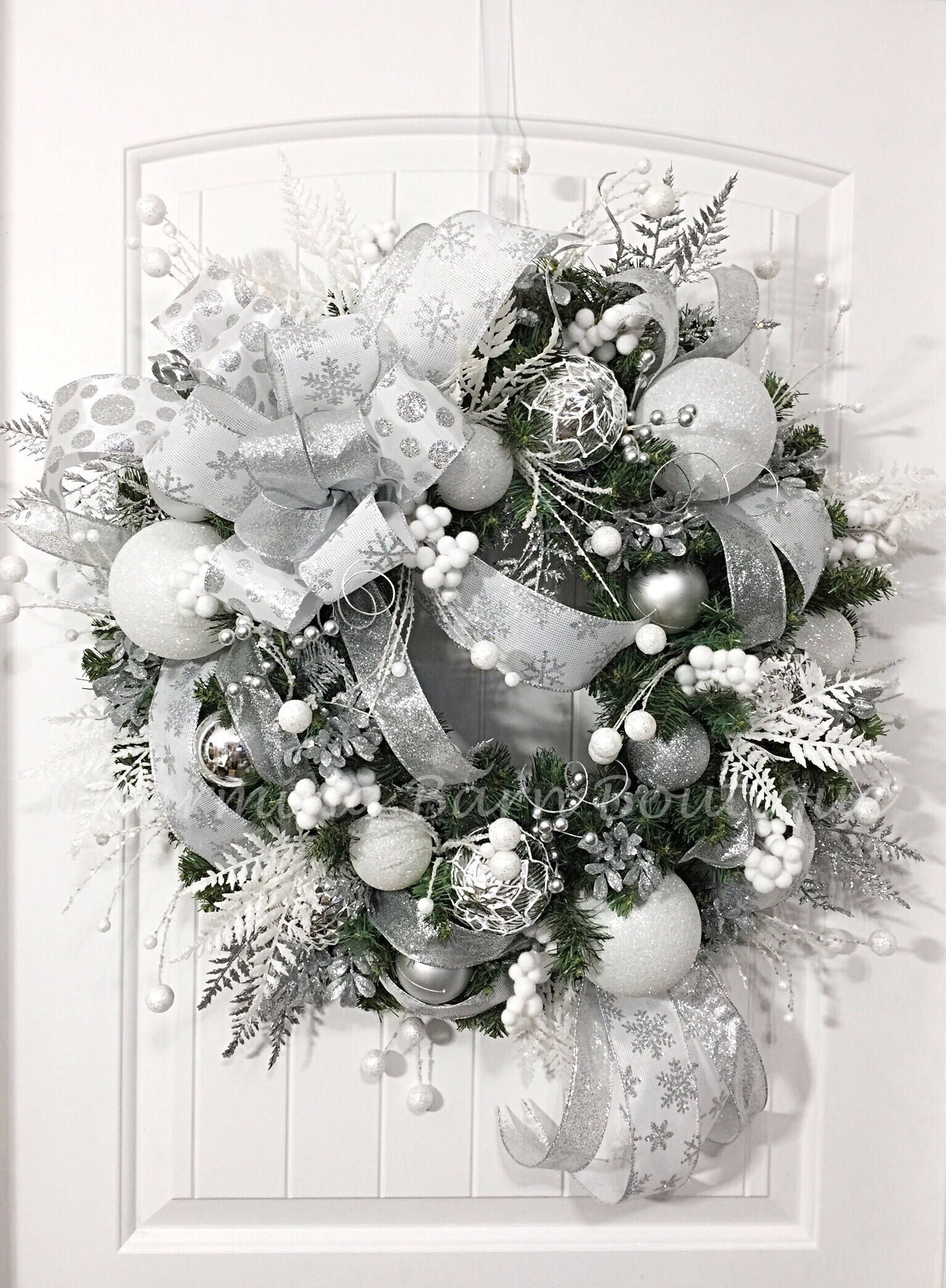 Christmas Wreath Winter Wreath Holiday Wreath Evergreen Wreath White And Silver Wrea Winter Door Decorations Christmas Wreaths Silver Christmas Decorations