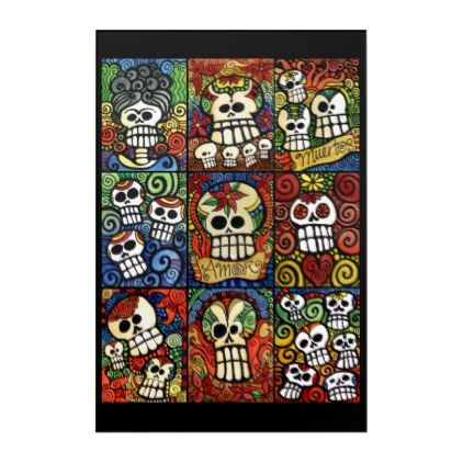 #Day of the Dead Sugar Skulls Collection Acrylic Wall Art - #Halloween happy halloween #festival #party #holiday