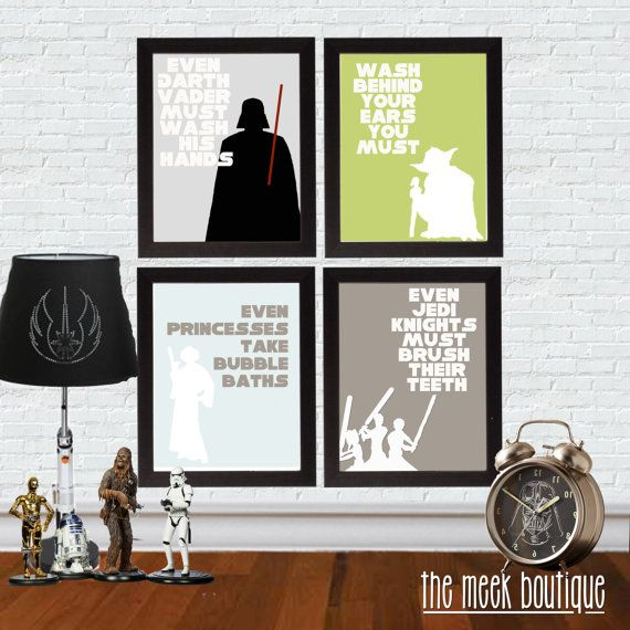 Instant Download Star Wars Bathroom Art Set Of Four Printables No 32 Zimmergestaltung Just In Case