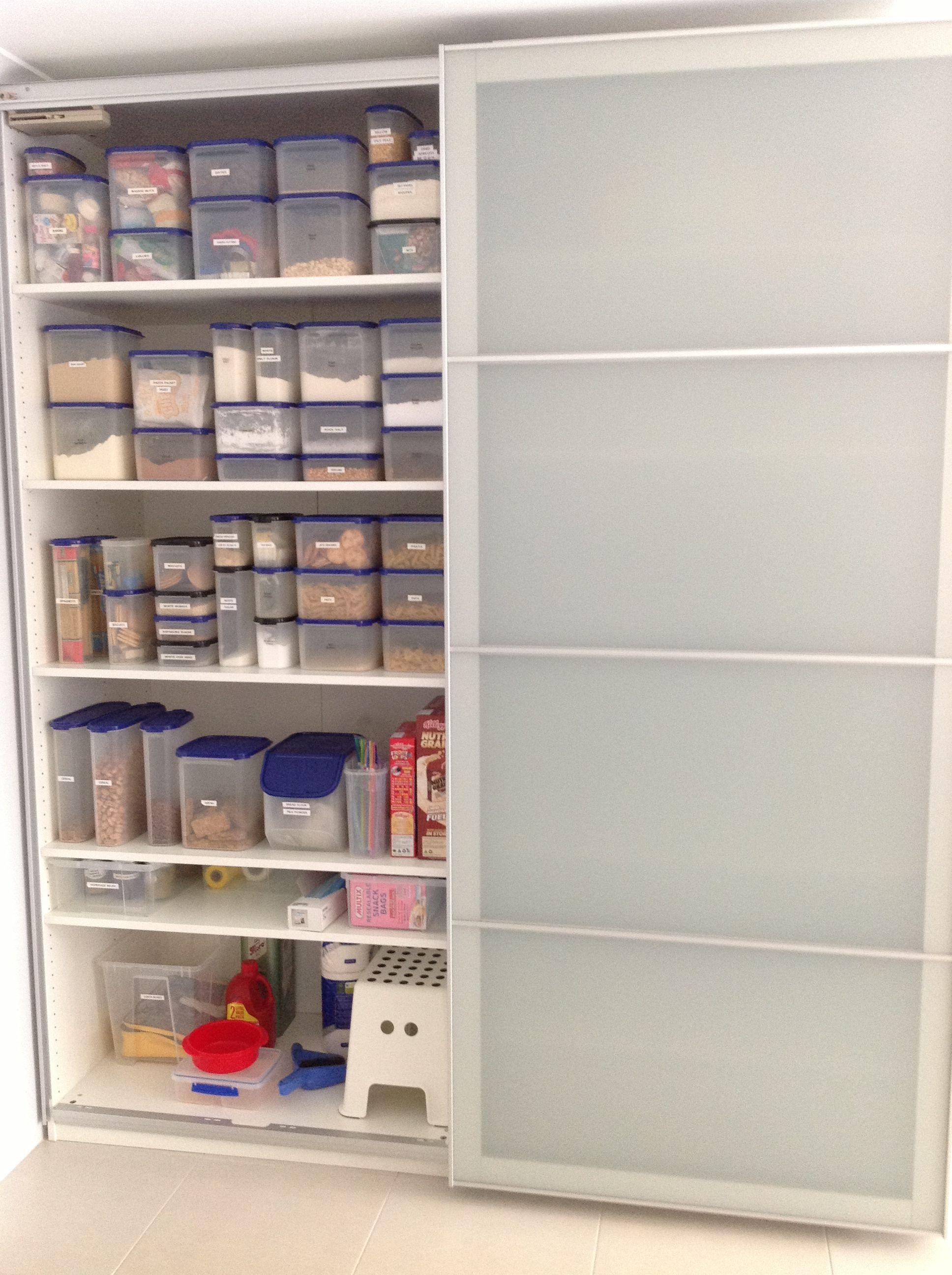 My Ikea Pax Wardrobe Used As A Kitchen Pantry Kitchen Storage