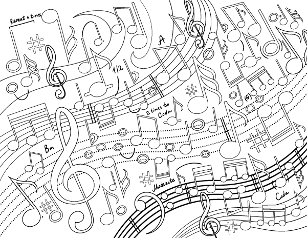 Free Printable Music Swirl Adult Coloring Page Download It In PDF Format At Coloringgarden