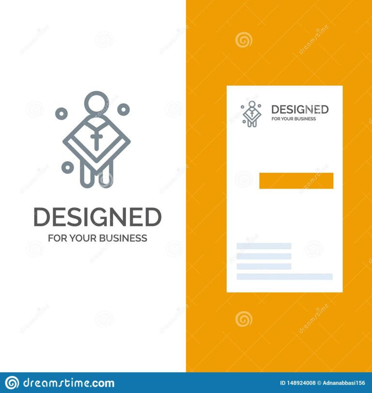 Christian Church Male Man Preacher Grey Logo Design And Inside Christian Business C In 2020 Free Business Card Templates Business Card Template Card Templates Free