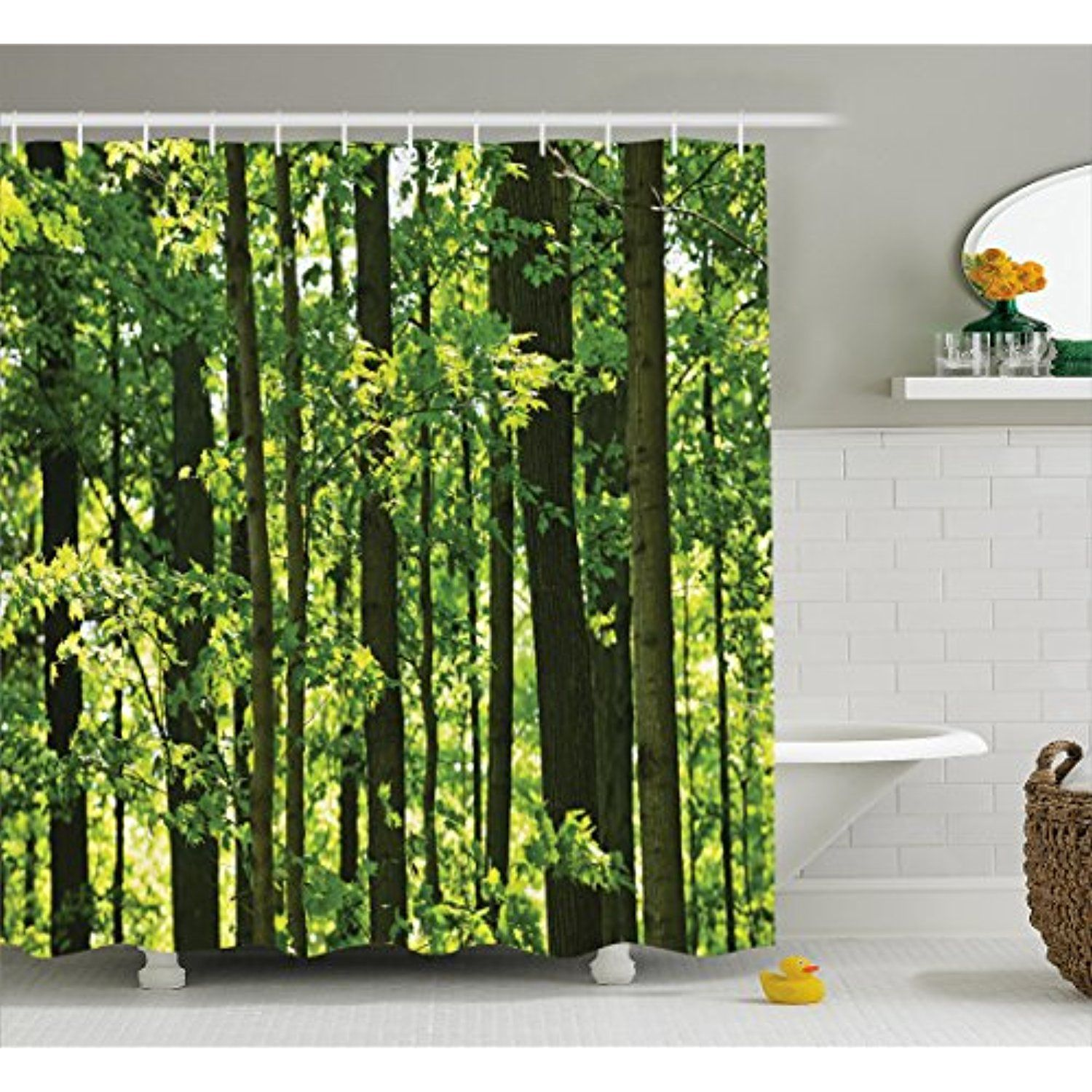 Nature Shower Curtain By Lunarable Refreshing Lush Young Forest With Canadian Maple Trees Foliage Environment Imag Bamboo Decor Shower Curtain Sets Leaf Decor