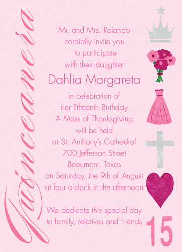 """Quinceanera Celebration Invitation. 4 7/8"""" x 6 3/4"""". A portion of the proceeds from the sale of this invitation is donated to help support cancer patient care programs at The Roswell Park Cancer Institute."""