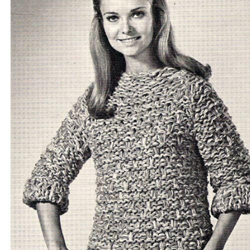 Boat Neck Sweater Big Needle Knitting Pattern