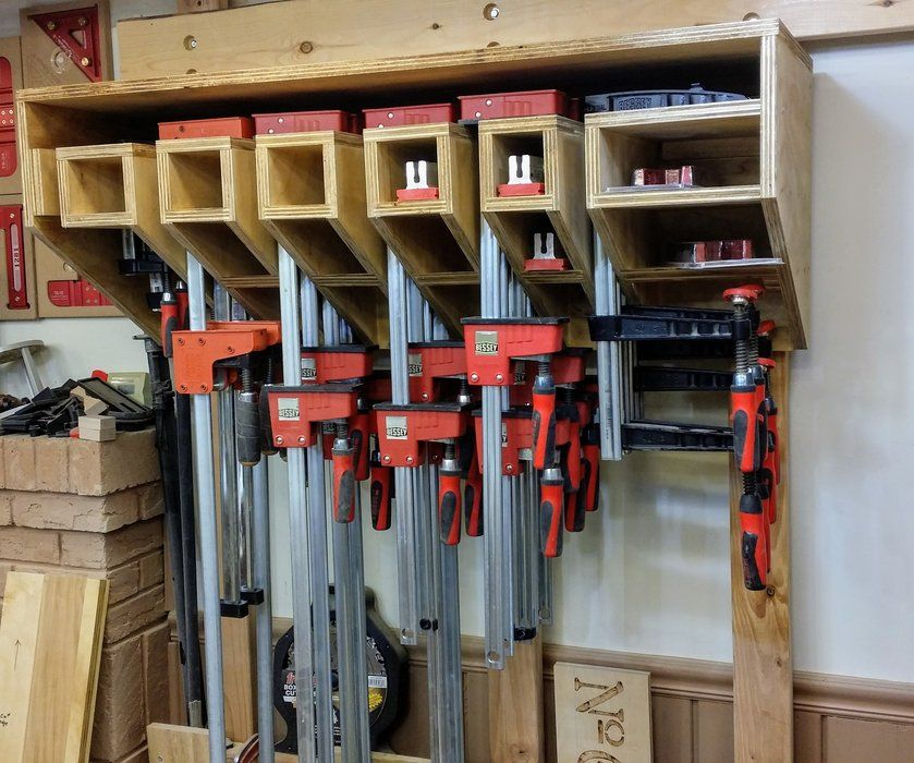 Bessey F Style And Parallel Clamp Rack By Cmmyakman Lumberjocks Com Woodworking Community Shop Storage Clamp Workshop Organization