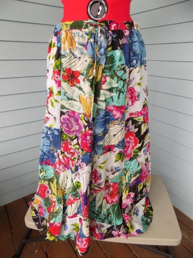 5f9bf07ba7e Floral Hippie Swirl Skirt Lifestyle 100% Cotton Plus Sz 16W Patchwork  Drawstring