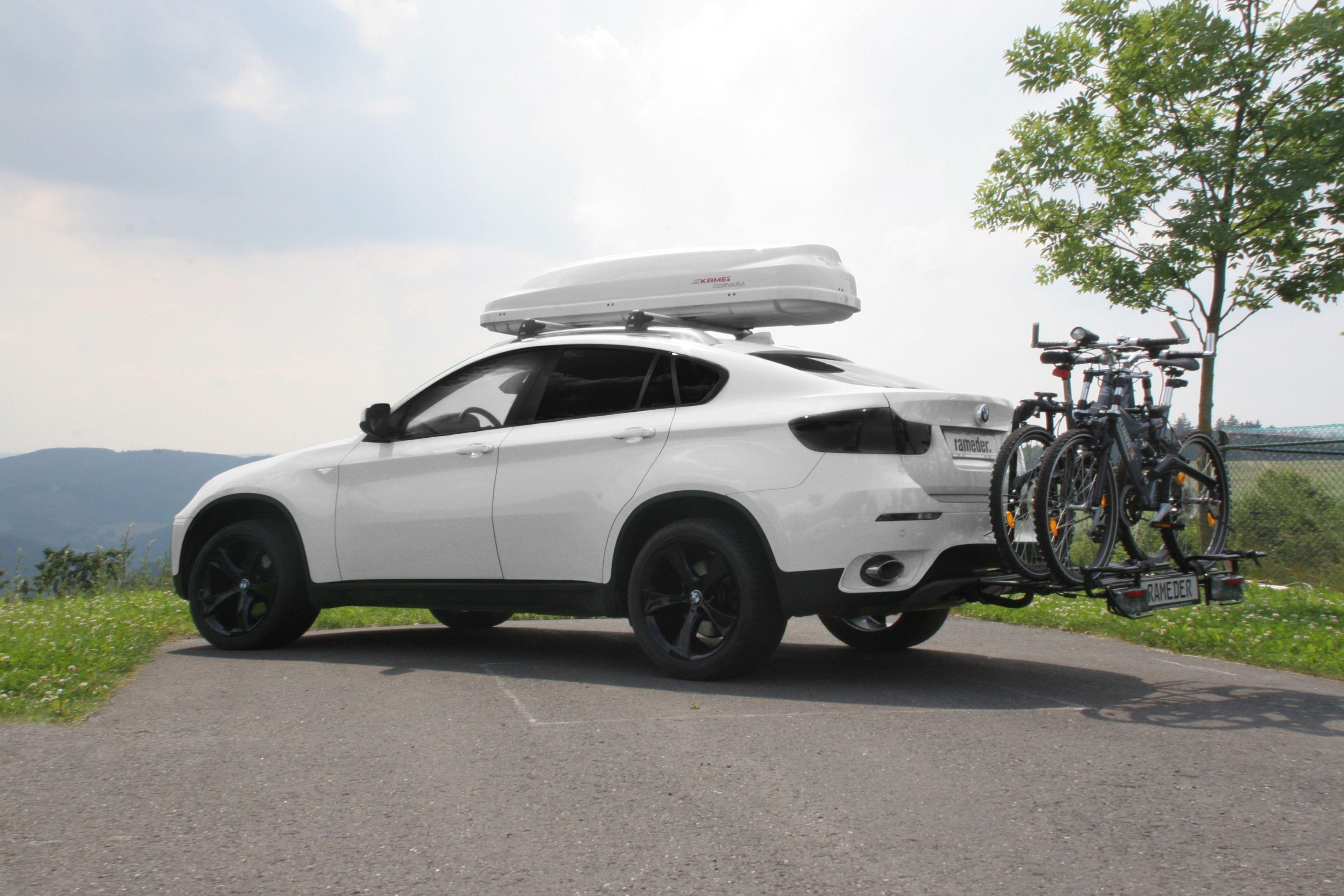 bmw x6 mit anh ngerkupplung fahrradtr ger und dachbox bmw x6 with towbar bike carrier and roof. Black Bedroom Furniture Sets. Home Design Ideas