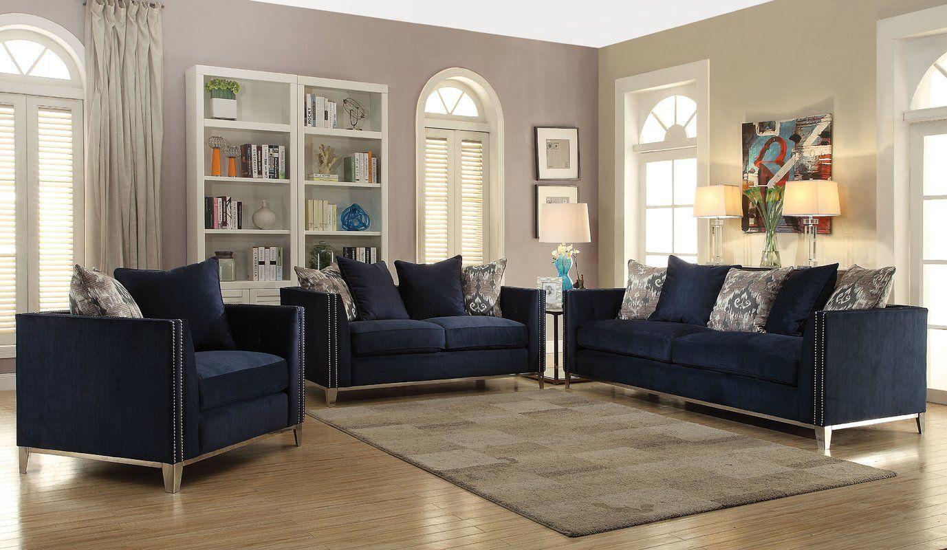 Franco Configurable Living Room Set Blue Sofas Living Room Blue Living Room Furniture Sofa Set