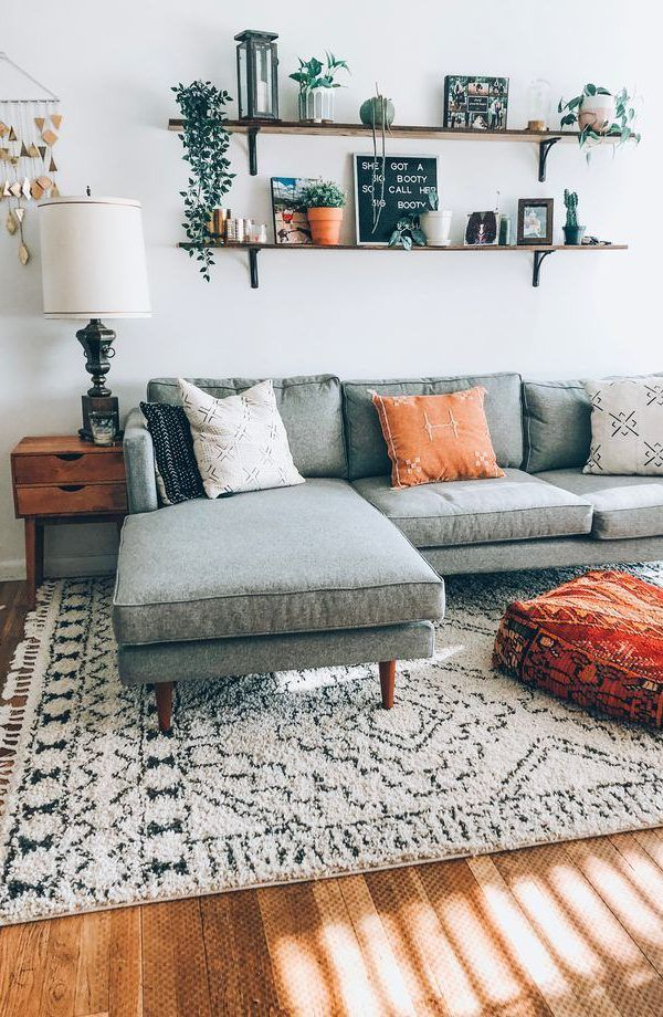 A Mix Of Mid Century Modern Bohemian And Industrial Interior Style Home And Apartment Dec Living Room Decor Modern Living Room Scandinavian Living Room Grey