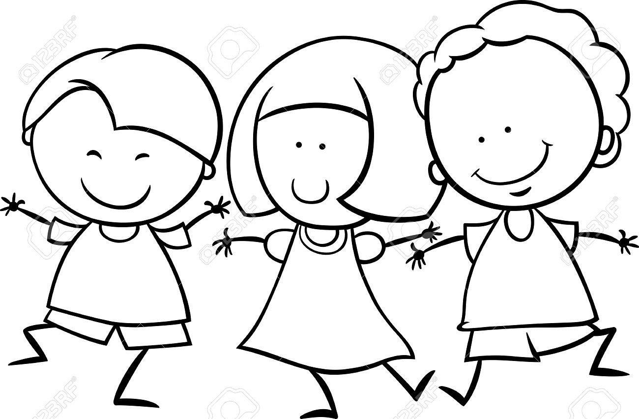 Dibujos Animados De Niños Blanco Y Negro