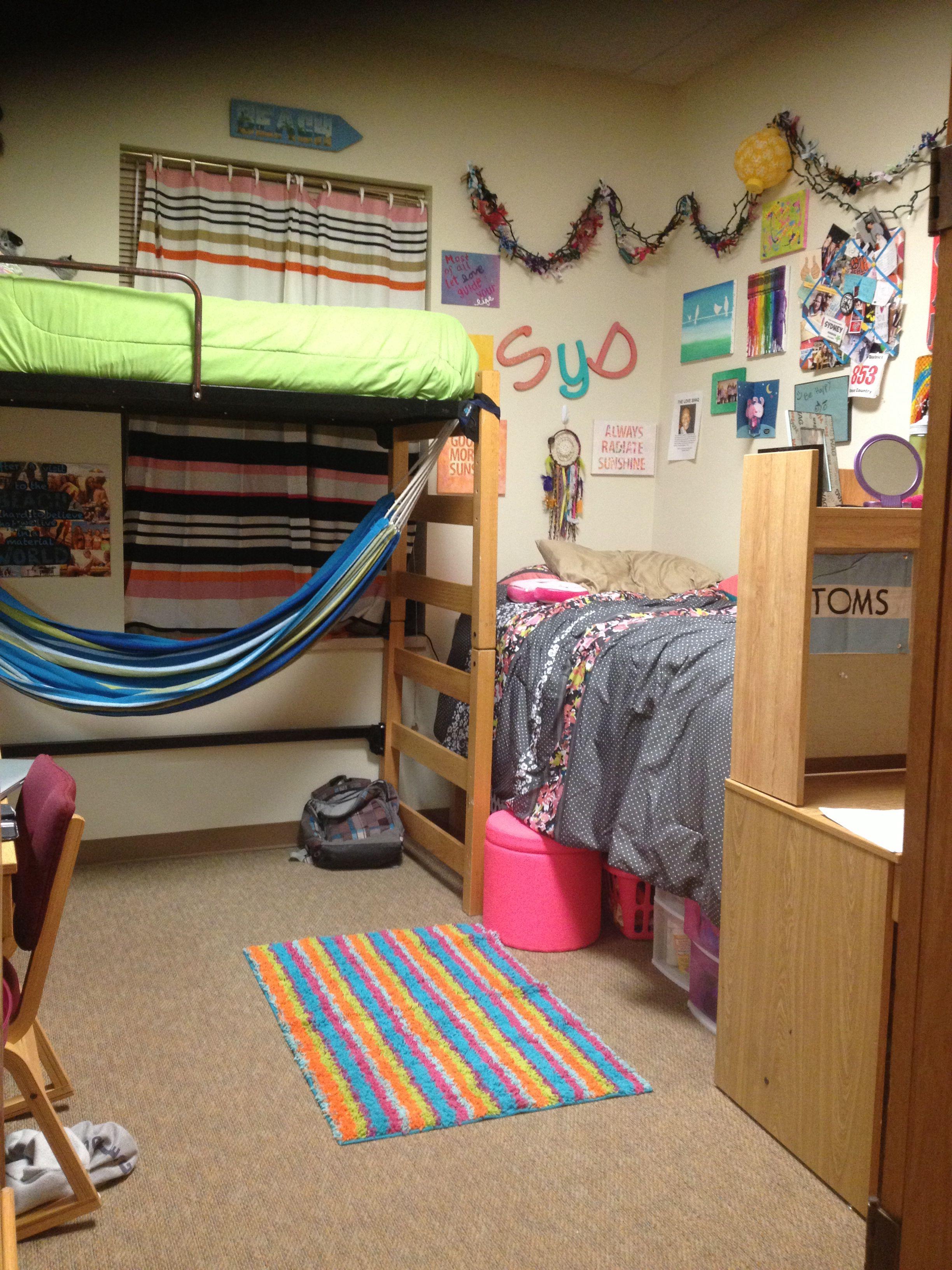 Hammock under the bed! Dorm room setup