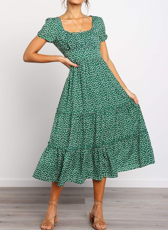 Square Neckline Short Sleeve Floral Ruffled Midi Dress Sparsheen Midi Ruffle Dress Midi Length Dress Modest Dresses [ 1500 x 1100 Pixel ]