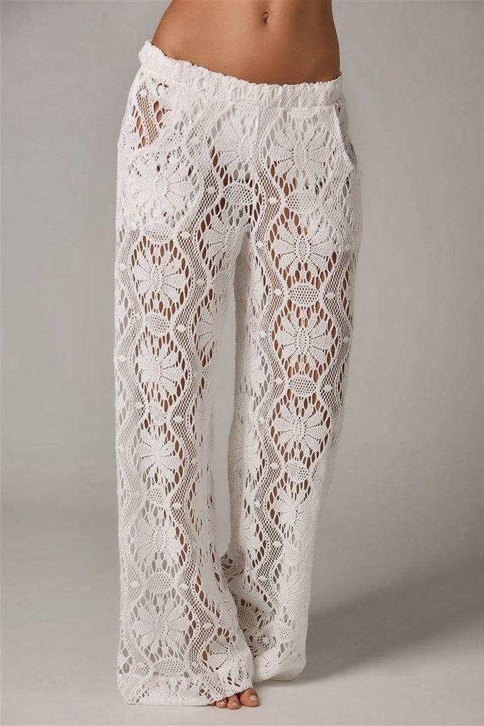 Pantalon Tricot Elegante Blanco Patron - Patrones Crochet   crochet ...