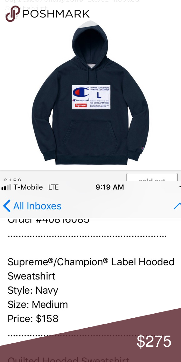 0591f744 Supreme x Champion big chest champ tag logo (navy) Brand new still in  dustbag never worn. Authentic 100% or money back. NWT FW18 Hoodie (navy)  Supreme ...