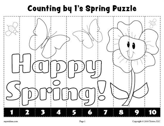 8 free printable spring counting worksheets counting 1 10 skip counting by 2 5 and 10. Black Bedroom Furniture Sets. Home Design Ideas