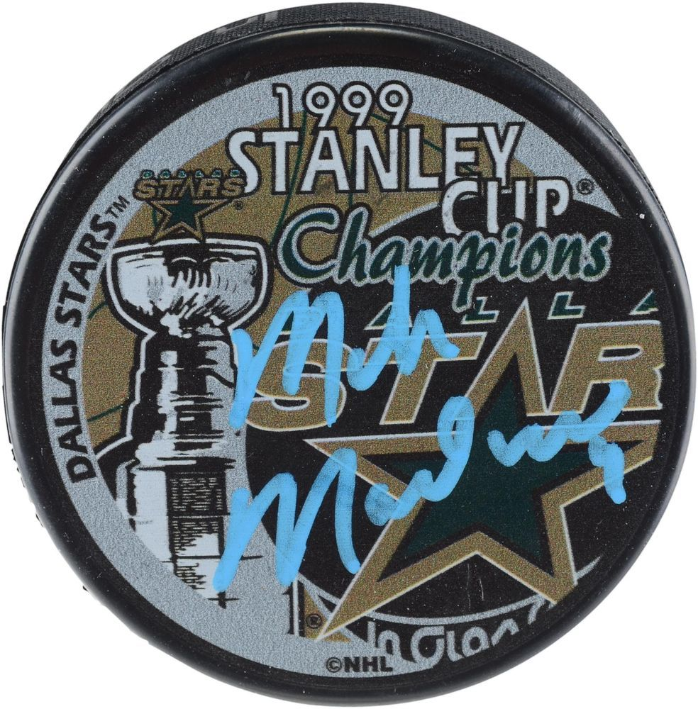 b1d46141dc8 Mike Modano Dallas Stars Autographed 1999 Stanley Cup Champions Logo Hockey  Puck