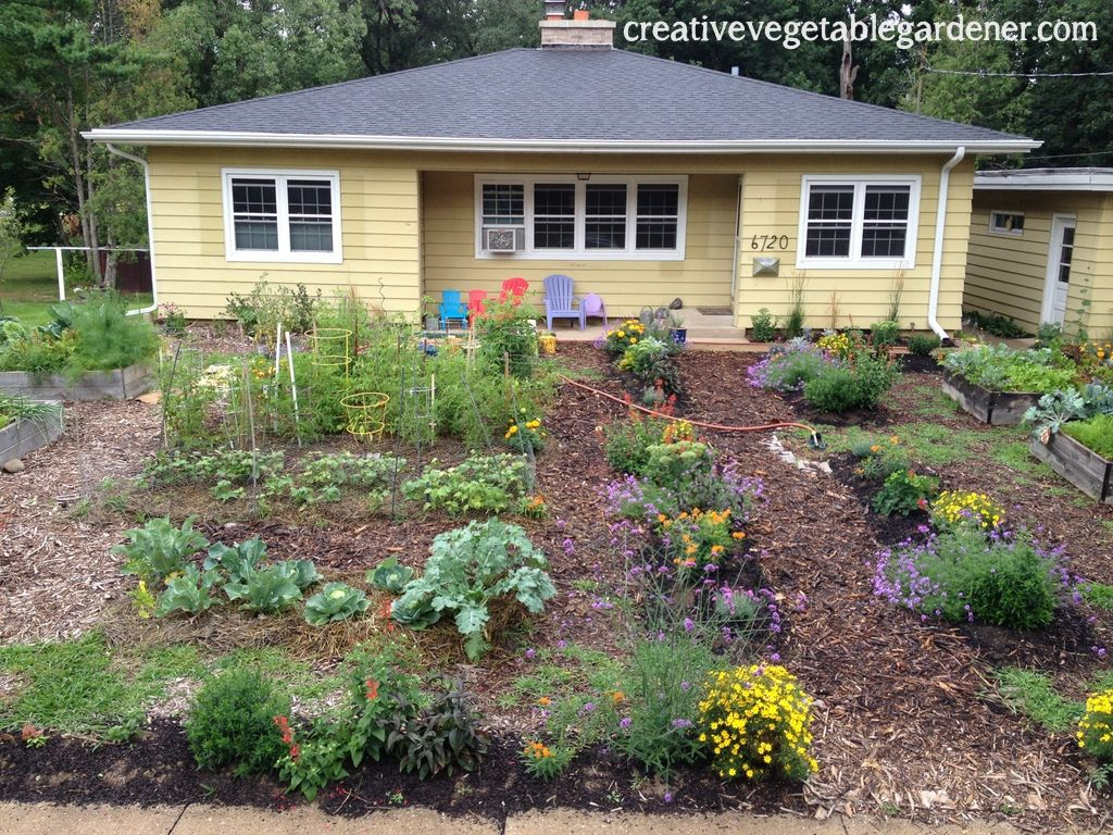 front yard vegetable and flower garden design installation by