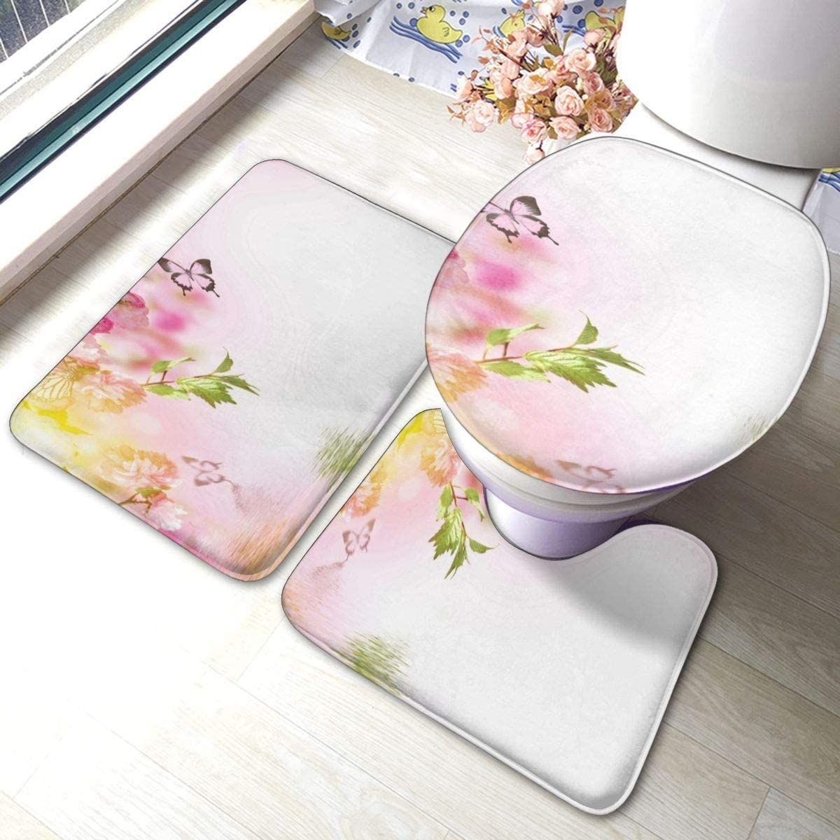 Amazon Com Bathroom Rugs Sets 3pc Flowers Amazing Spring Sakura With Butterflies Pink Non Slip Bath Bathroom Rugs Bathroom Rug Sets Bathroom Decor Accessories [ 1200 x 1200 Pixel ]
