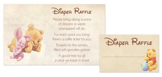 Baby Shower Raffle Winnie The Pooh w Tigger; Printables Raffle Tickets